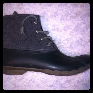 sperry duck boots, color is a blue/gray.